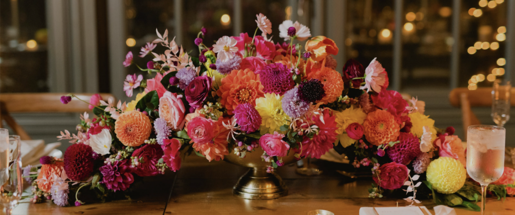 Citrus colors used for fall wedding - How to use your wedding color palette in a different season - Leah E. Moss Designs - floral by Parsonage Events