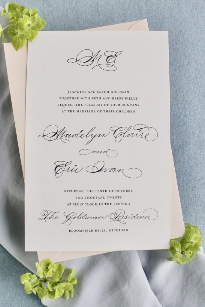 Dark grey and blush Semi custom wedding invitation with traditional calligraphy - considerations for intimate wedding invitations - Leah E. Moss Designs