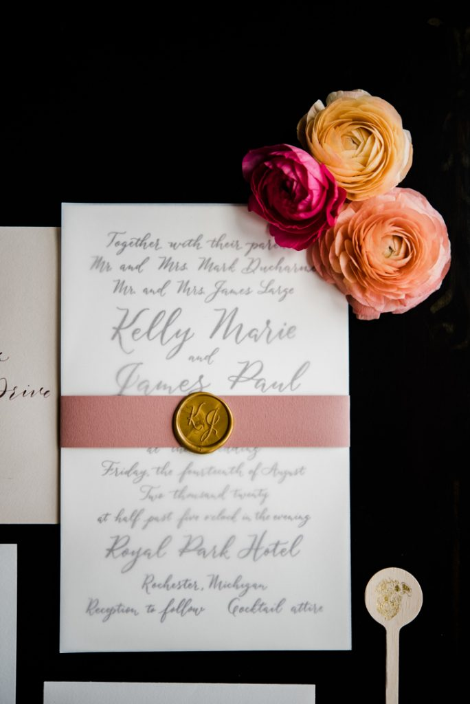 Invitation with gold wax seal and dusty rose belly band, modern calligraphy wedding invitation, Michigan wedding invitation, calligraphy wedding invitation - Royal Park Hotel wedding - Leah E. Moss Designs; photo by Brittany Emerson Photography