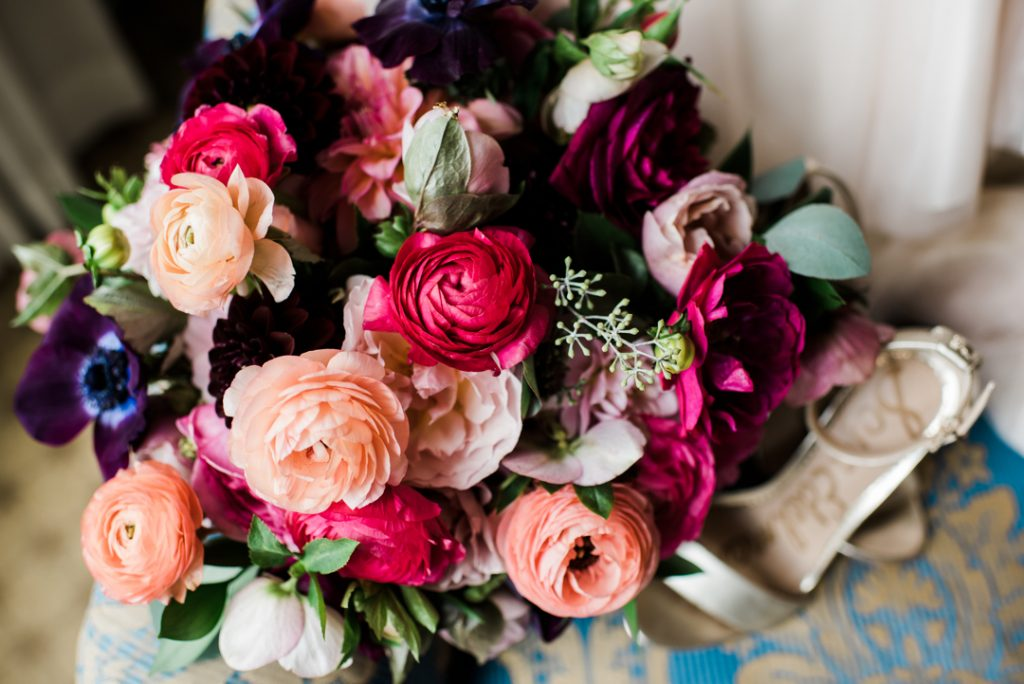 Bridal bouquet with pink and peach, coral, and burgundy colors - Royal Park Hotel wedding - Leah E. Moss Designs; photo by Brittany Emerson Photography