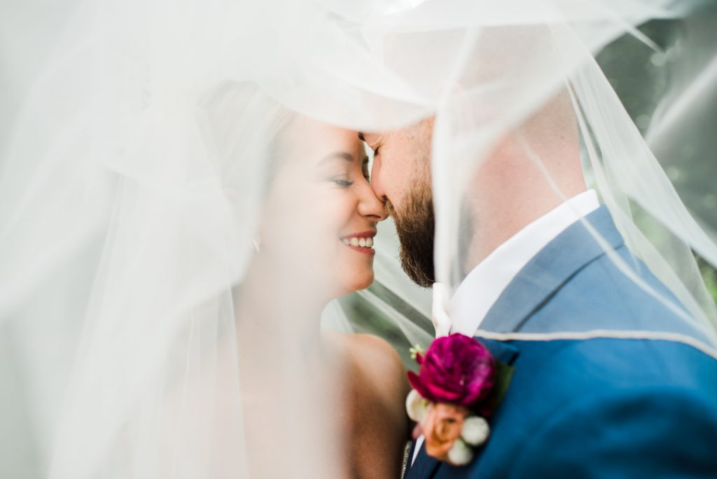 Couple under veil, wedding portraits with veil, romantic wedding portraits - Royal Park Hotel wedding - Leah E. Moss Designs; photo by Brittany Emerson Photography