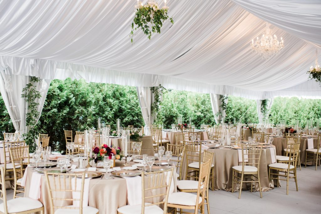 Tented outdoor reception with ceiling draping - Royal Park Hotel wedding - Leah E. Moss Designs; photo by Brittany Emerson Photography