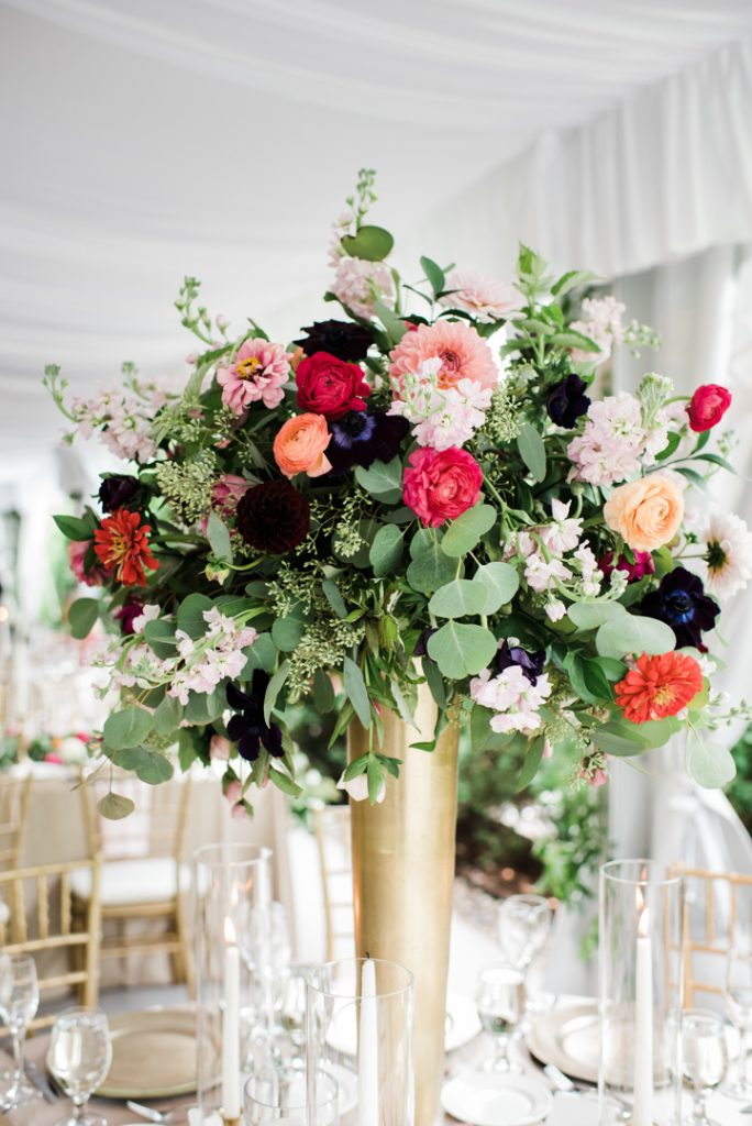 Tall floral arrangement, bright wedding flowers, pink and burgundy wedding flowers - Royal Park Hotel wedding - Leah E. Moss Designs; photo by Brittany Emerson Photography