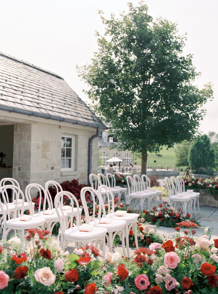 Private estate ceremony setup - Intimate wedding at home in Ann Arbor, Michigan - Leah E. Moss Designs - Photo by Blaine Siesser