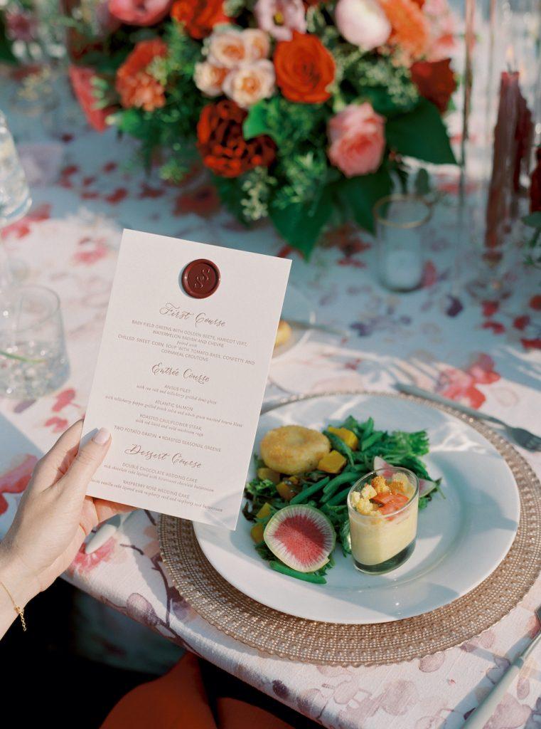 Burgundy wedding menu with wax seal - Intimate wedding at home in Ann Arbor, Michigan - Leah E. Moss Designs - Photo by Blaine Siesser