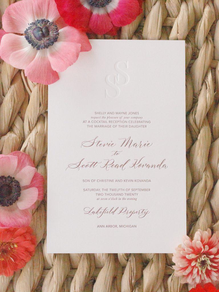 Custom wedding invitation - Intimate wedding at home in Ann Arbor, Michigan - Leah E. Moss Designs - Photo by Blaine Siesser