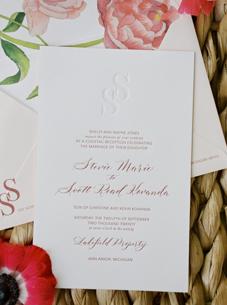 Blind impression, modern wedding monogram - Intimate wedding at home in Ann Arbor, Michigan - Leah E. Moss Designs - Photo by Blaine Siesser