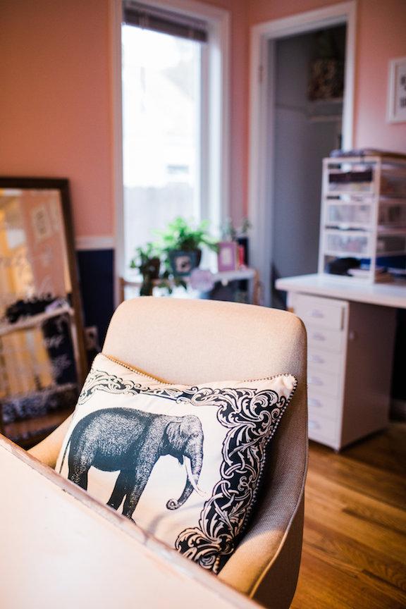 Studio Tour - desk chair with elephant pillow - Leah E Moss
