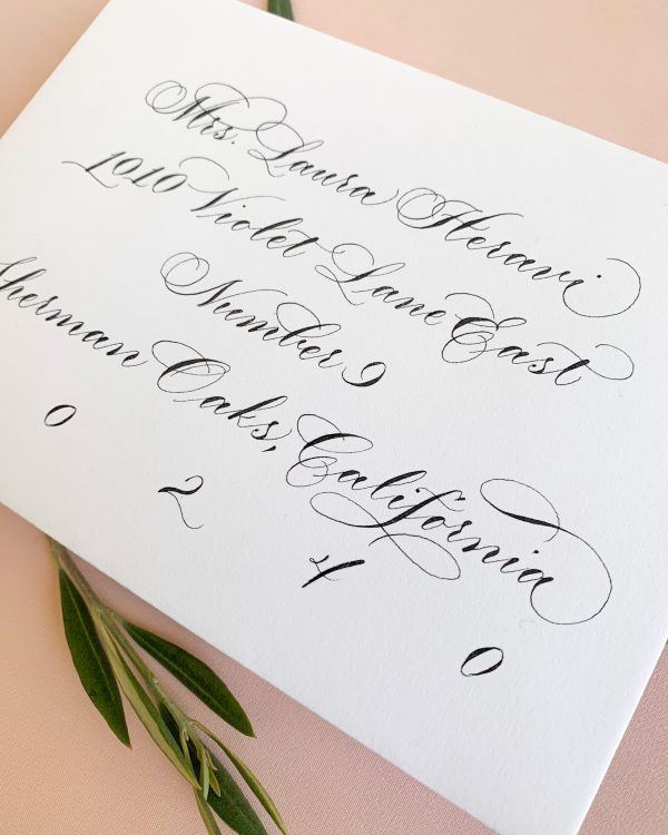 Formal calligraphy for envelope addressing - Calligraphy styles I offer - Leah E. Moss Designs