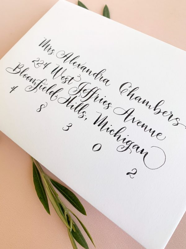 Playful calligraphy with twirls - Calligraphy styles I offer - Leah E. Moss Designs