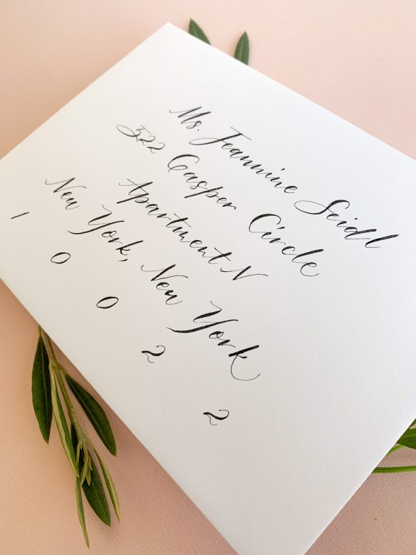 Modern calligraphy for casual invitation - Calligraphy styles I offer - Leah E. Moss Designs