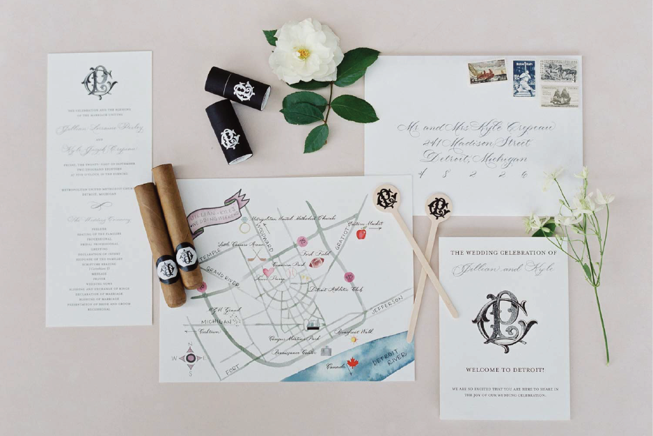 Classic wedding details with custom Detroit, Michigan map from Michigan calligrapher Leah E. Moss Designs - Michigan wedding invitations