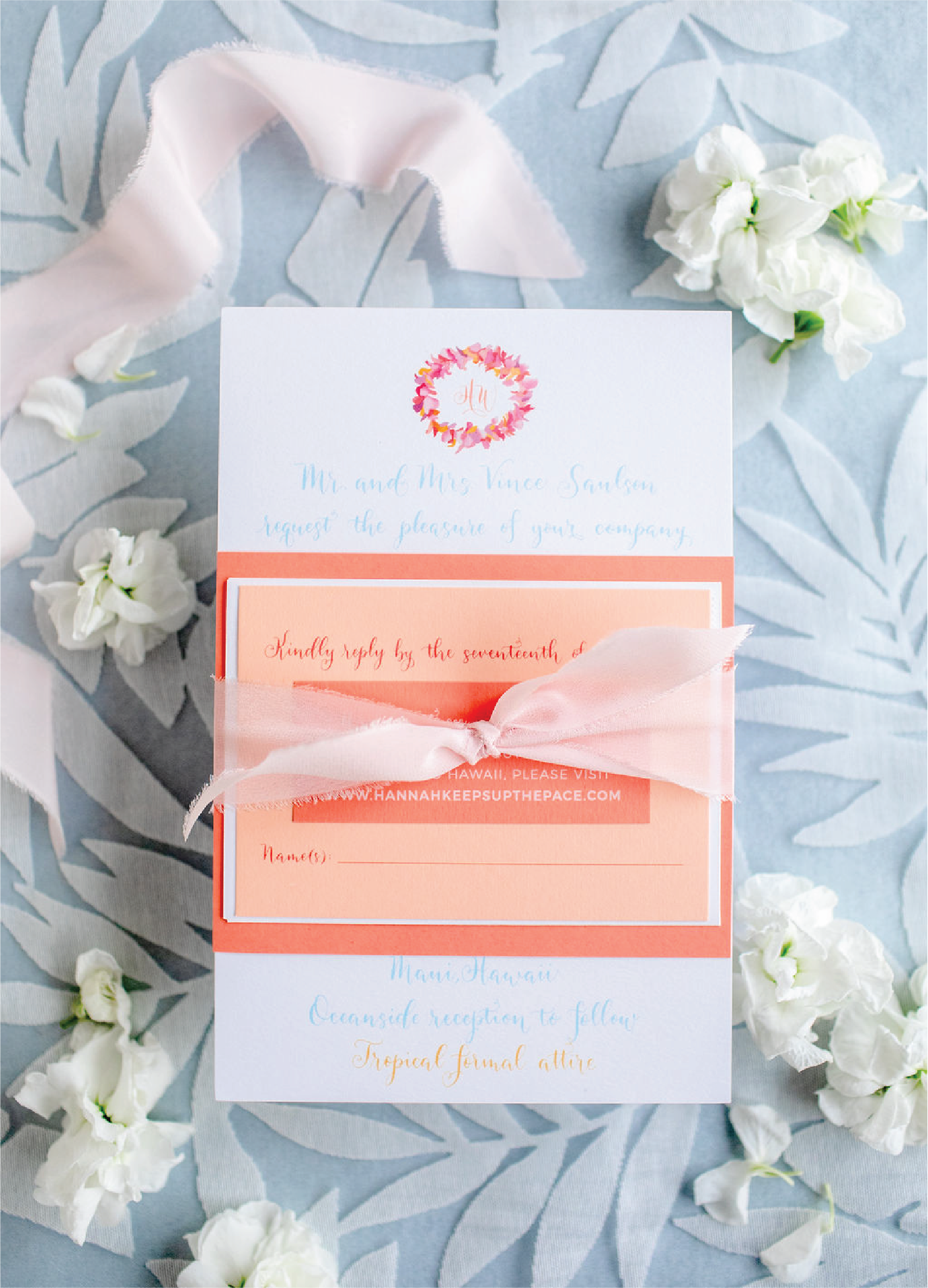Coral and peach wedding invitations with calligraphy by Leah E. Moss Designs for Four Seasons Maui Hawaii wedding