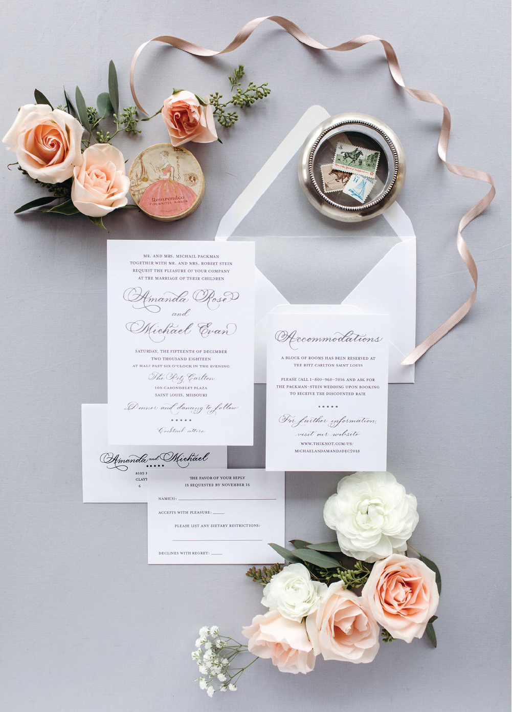 Elegant silver foil stamping and black wedding invitations with calligraphy by Leah E. Moss Designs for Ritz Carlton St. Louis wedding