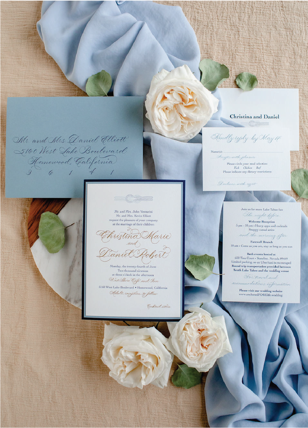 Gold navy and dusty blue wedding invitations with calligraphy by Leah E. Moss Designs for subtle nautical wedding