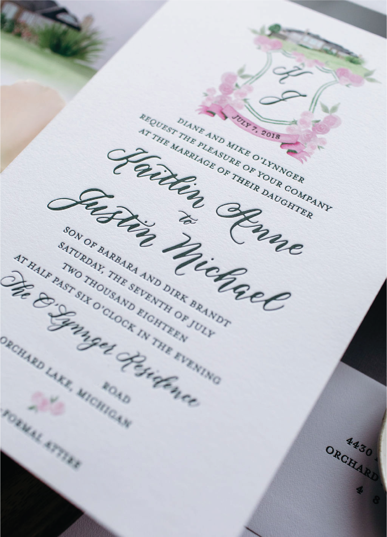 Modern script wedding invitations with calligraphy and crest with venue illustration by Leah E. Moss Designs for wedding at a private residence
