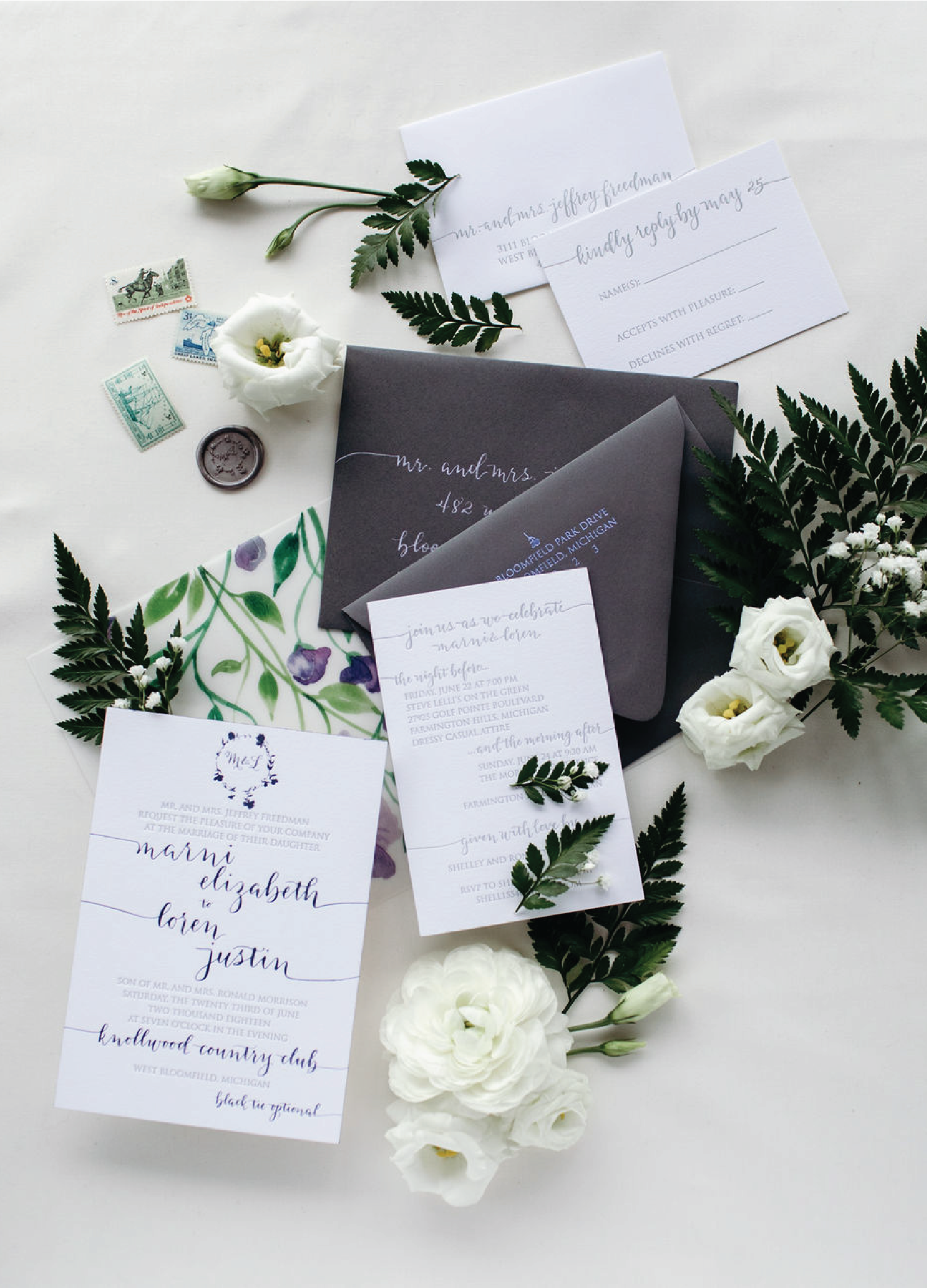 Lilac and grey letterpress and foil stamped wedding invitations with calligraphy by Leah E. Moss Designs for wedding at Knollwood Country Club in Michigan