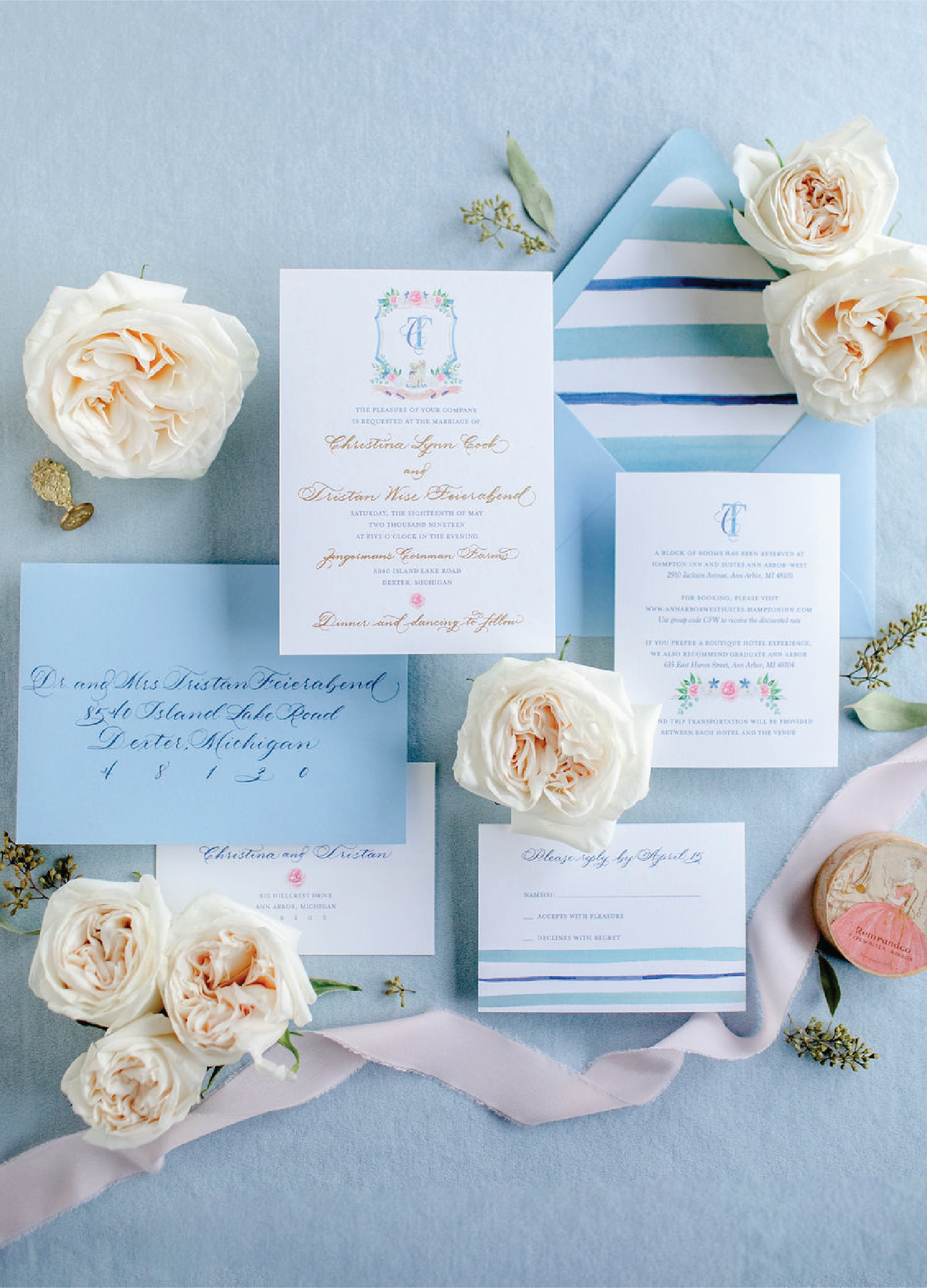 Blue and gold foil preppy wedding invitations with calligraphy and crest with dogs and flowers by Leah E. Moss Designs for Zingerman's Cornman Farms wedding