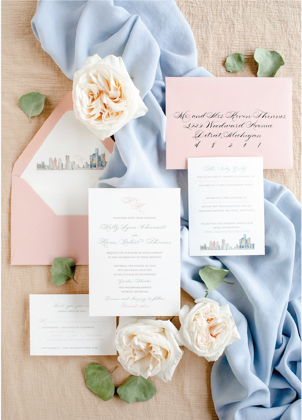 Detroit skyline and pink wedding invitations with calligraphy by Leah E. Moss Designs