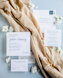 Blue grey letterpress with modern calligraphy wedding invitation - Wedding Invitation Printing Options - Leah E. Moss Designs