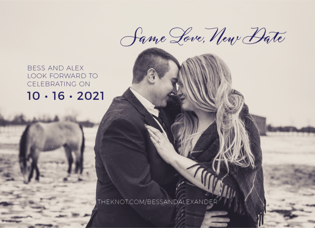 postponement announcement with same love new date - reception invitation wording after a private wedding in 2020 - Leah E. Moss Designs