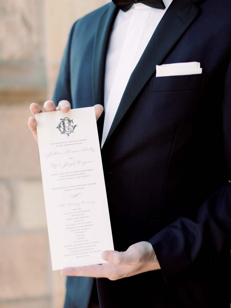ceremony programs with cypher monogram - reception invitation wording after a private wedding in 2020 - Leah E. Moss Designs - photo by Blaine Siesser