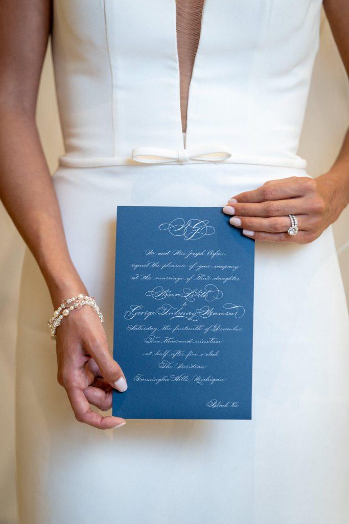 Blue invitation with white text, all script wedding invitation with traditional monogram in calligraphy - Custom wedding invitations designer - Leah E. Moss Designs