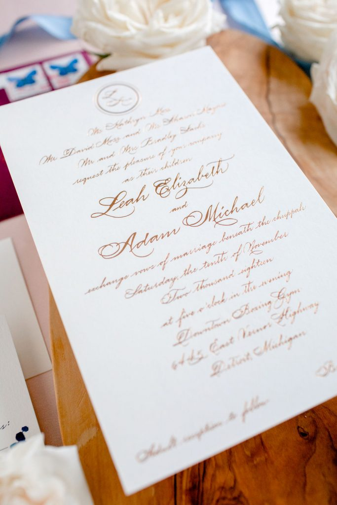 exchange vows - reception invitation wording after a private wedding in 2020 - Leah E. Moss Designs