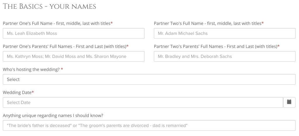 wording questionnaire for easy online wedding invitations process with leah e moss designs