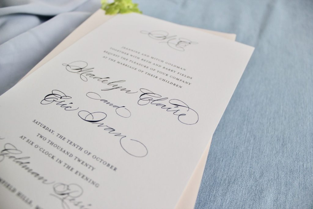 Dark grey Semi custom wedding invitation with traditional monogram - considerations for intimate wedding invitations - Leah E. Moss Designs