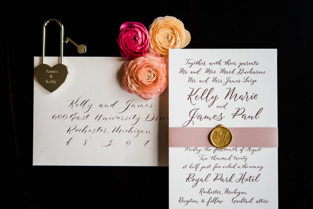 Burgundy wedding invitations, traditional invitations, blush wedding invitations, invitations with modern calligraphy - Royal Park Hotel wedding - Leah E. Moss Designs; photo by Brittany Emerson Photography