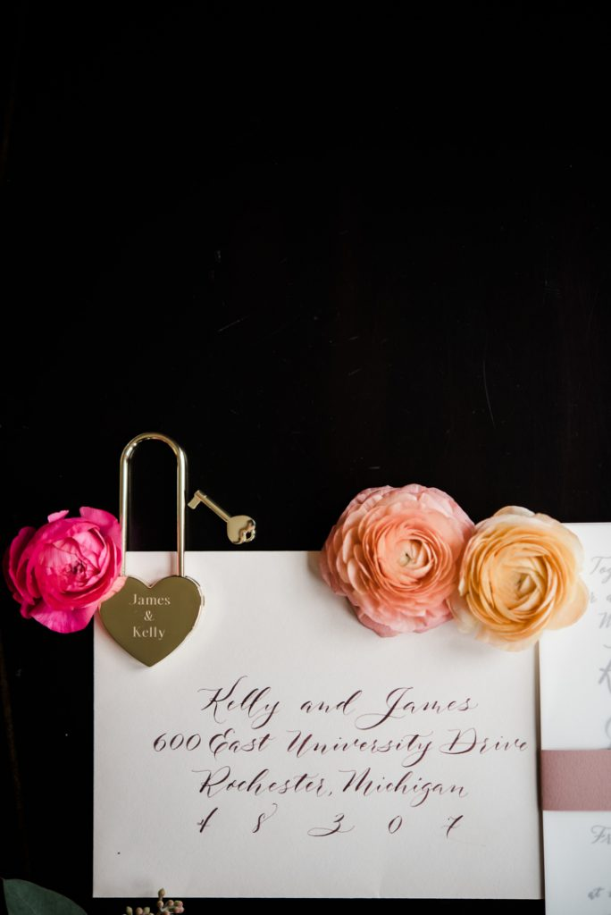 envelope calligraphy with love lock, love lock for wedding keepsake, love lock for lock bridge - Royal Park Hotel wedding - Leah E. Moss Designs; photo by Brittany Emerson Photography