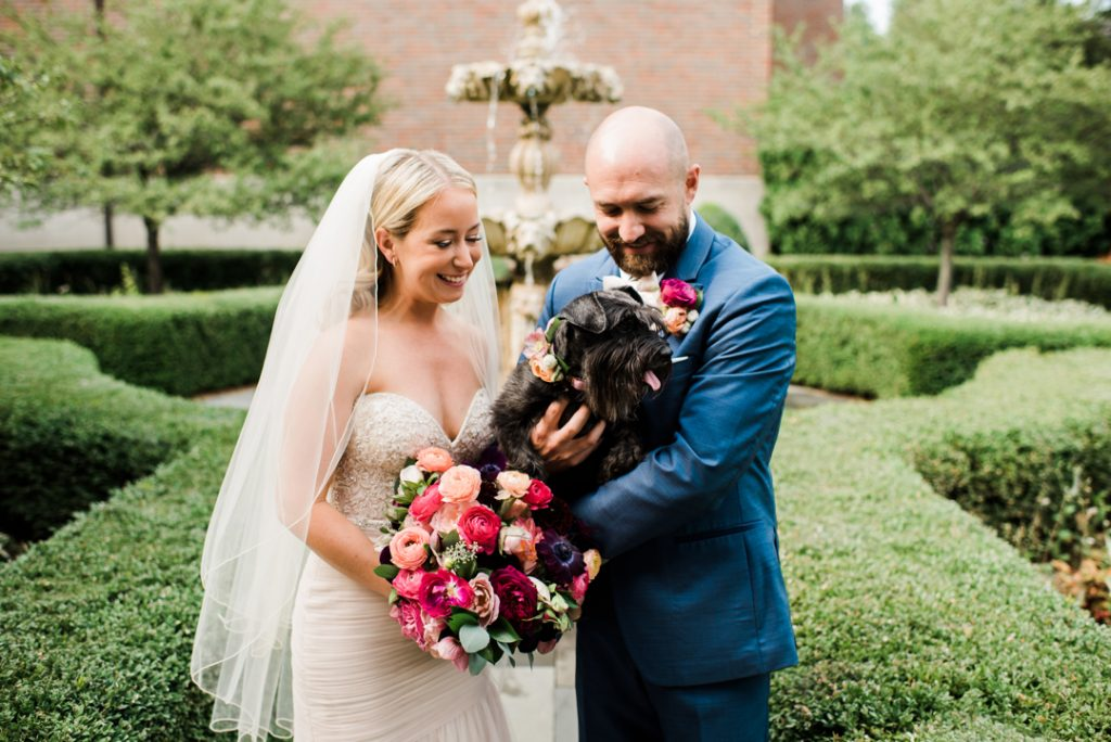 Wedding couple with dog, pets on wedding day - Royal Park Hotel wedding - Leah E. Moss Designs; photo by Brittany Emerson Photography