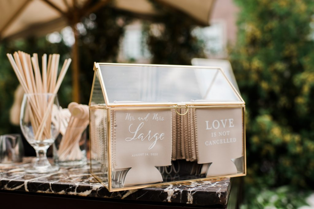 Custom koozies for wedding bar - Royal Park Hotel wedding - Leah E. Moss Designs; photo by Brittany Emerson Photography