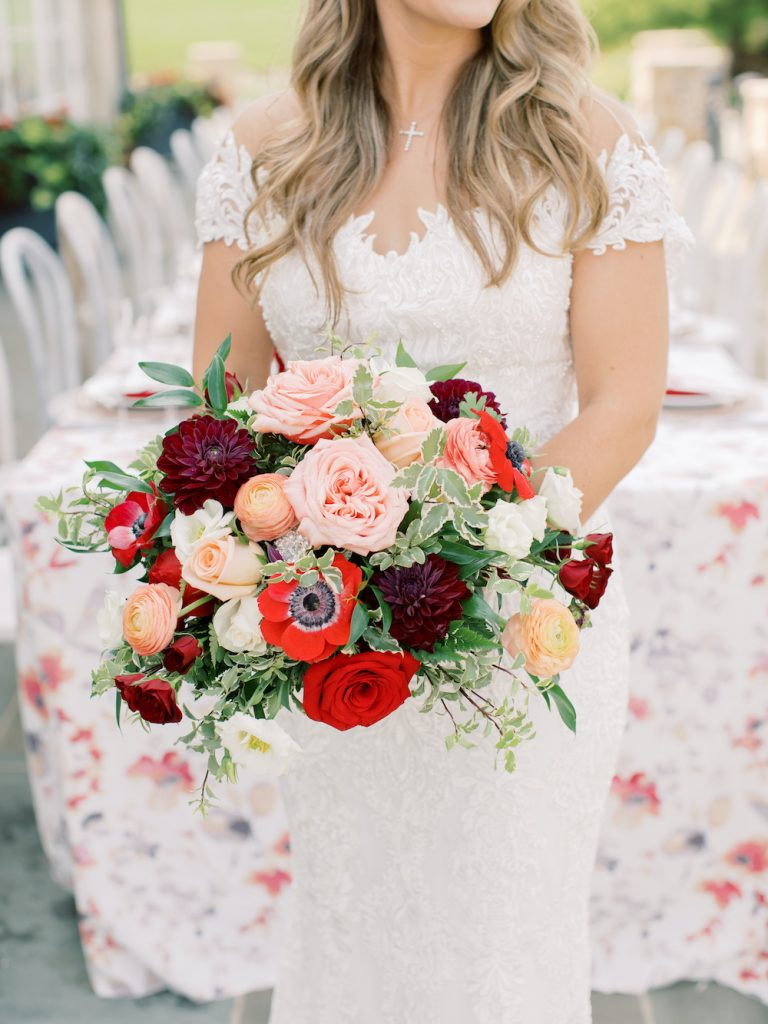 Burgundy, pink, and red bridal bouquet - Intimate wedding at home in Ann Arbor, Michigan - Leah E. Moss Designs - Photo by Blaine Siesser
