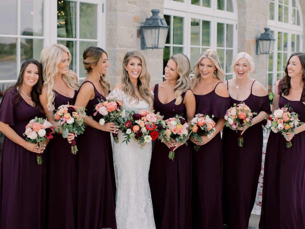 Deep burgundy bridesmaid dresses - Intimate wedding at home in Ann Arbor, Michigan - Leah E. Moss Designs - Photo by Blaine Siesser
