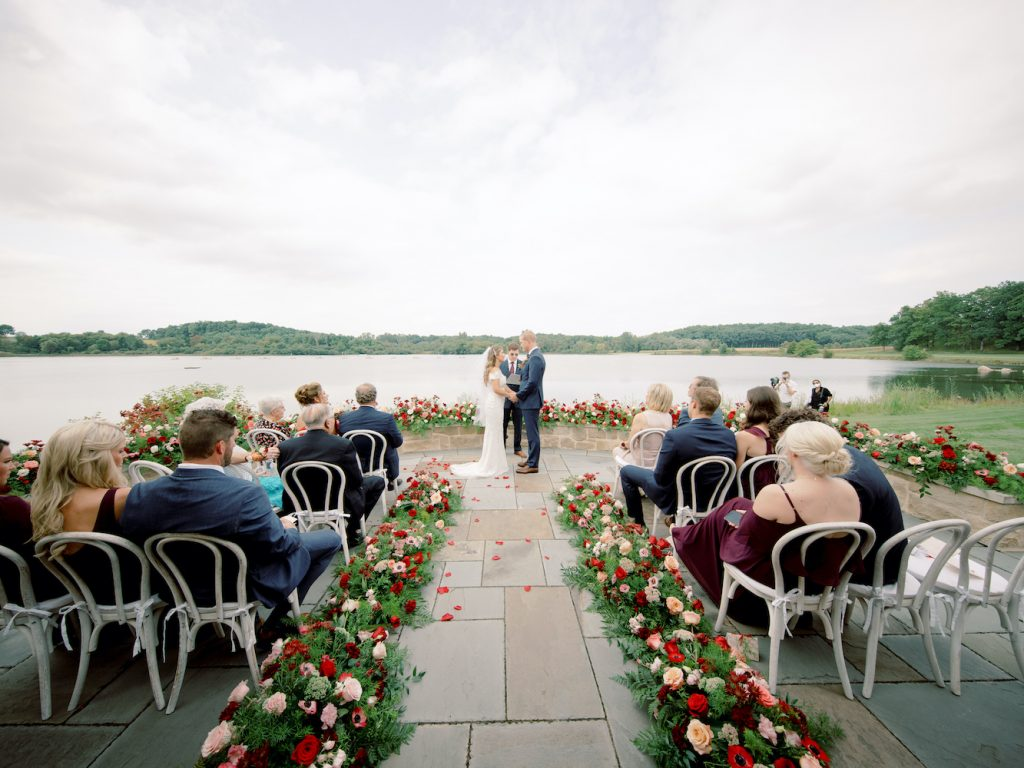 Lakeside wedding ceremony - Intimate wedding at home in Ann Arbor, Michigan - Leah E. Moss Designs - Photo by Blaine Siesser