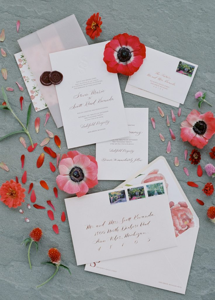 Wedding invitation with red and burgundy accents - Intimate wedding at home in Ann Arbor, Michigan - Leah E. Moss Designs - Photo by Blaine Siesser