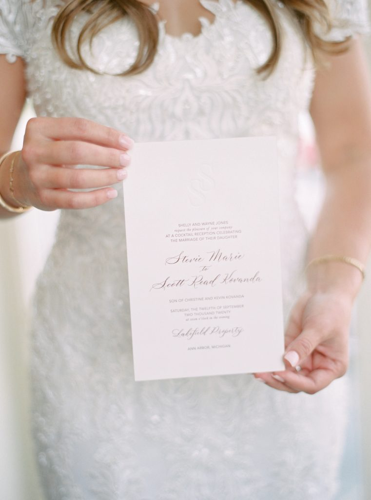Wedding invitation with modern calligraphy - Intimate wedding at home in Ann Arbor, Michigan - Leah E. Moss Designs - Photo by Blaine Siesser