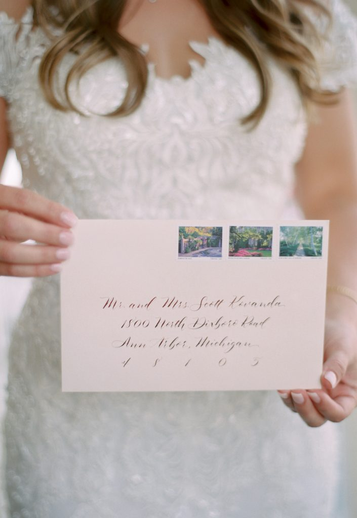 Blush envelope with modern calligraphy - Intimate wedding at home in Ann Arbor, Michigan - Leah E. Moss Designs - Photo by Blaine Siesser