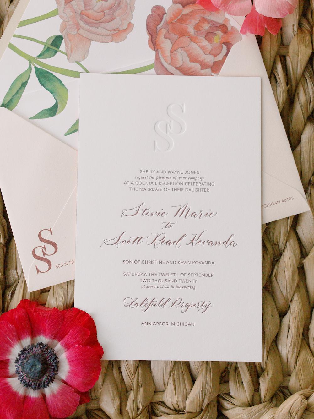 Classic wedding invitation - Intimate wedding at home in Ann Arbor, Michigan - Leah E. Moss Designs - Photo by Blaine Siesser