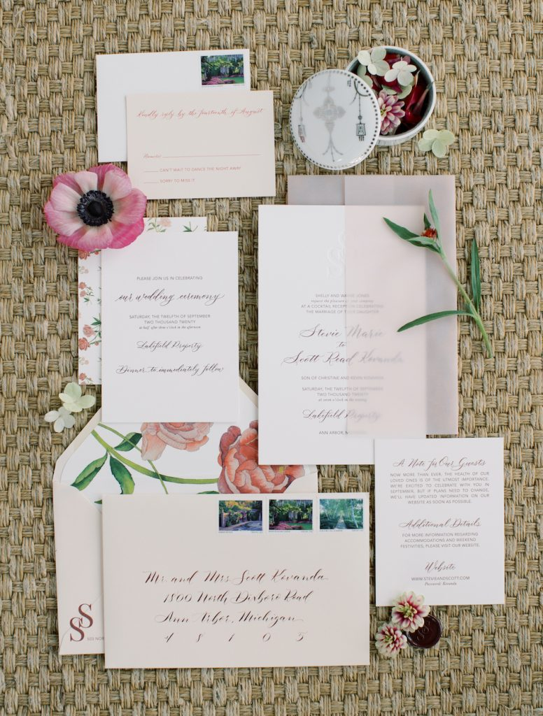 Wedding invitation with pink vellum and burgundy letterpress - Intimate wedding at home in Ann Arbor, Michigan - Leah E. Moss Designs - Photo by Blaine Siesser