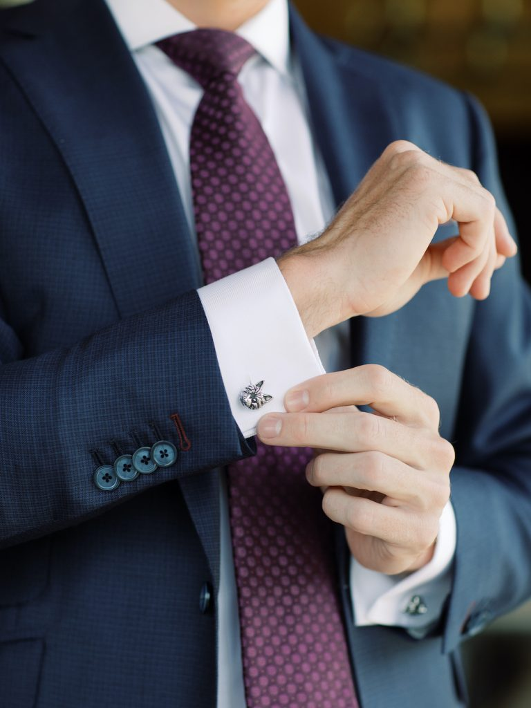 Dog cufflinks as gift for groom - Intimate wedding at home in Ann Arbor, Michigan - Leah E. Moss Designs - Photo by Blaine Siesser