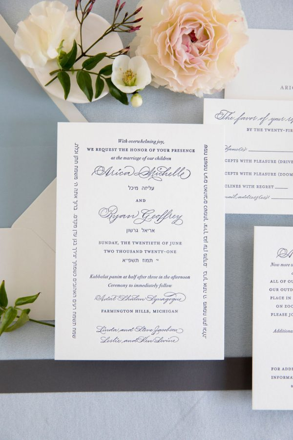 letterpress navy blue wedding invitation for traditional wedding - Leah E. Moss Designs