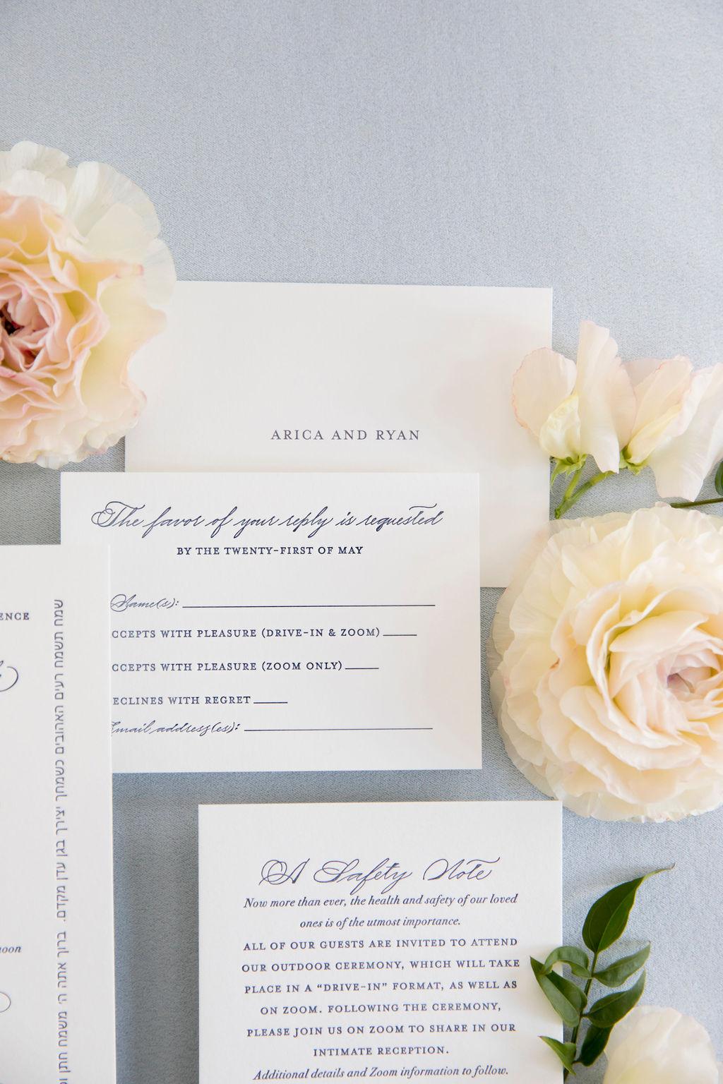 navy letterpress reply card - Leah E. Moss Designs