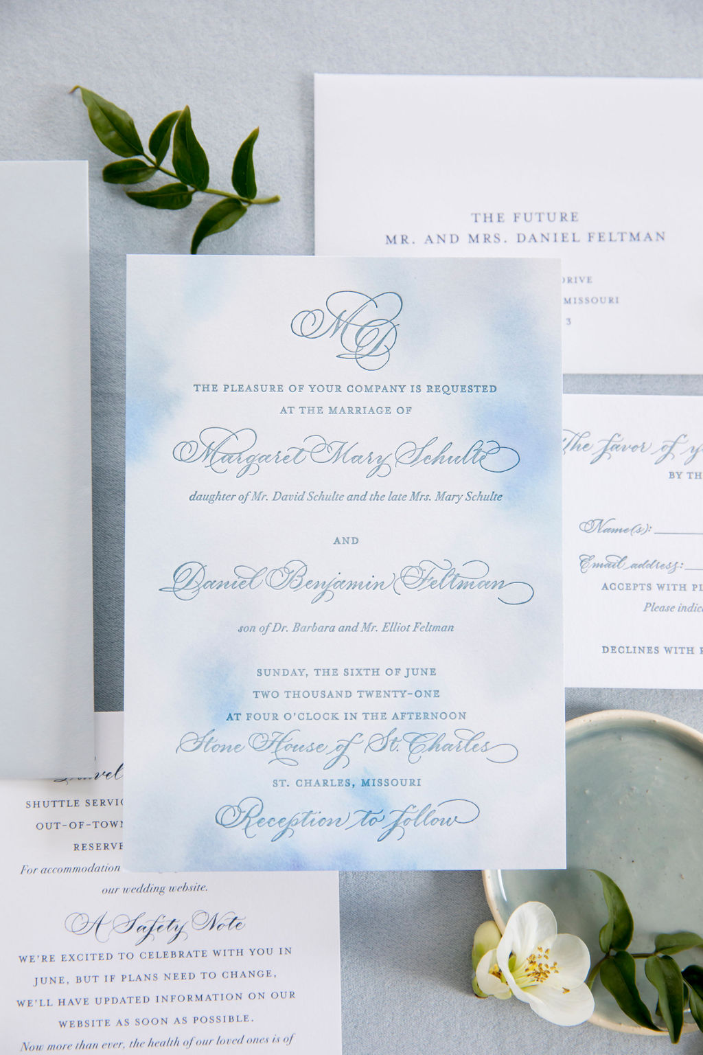 letterpress dusty blue wedding invitation with calligraphy and watercolor - Leah E. Moss Designs