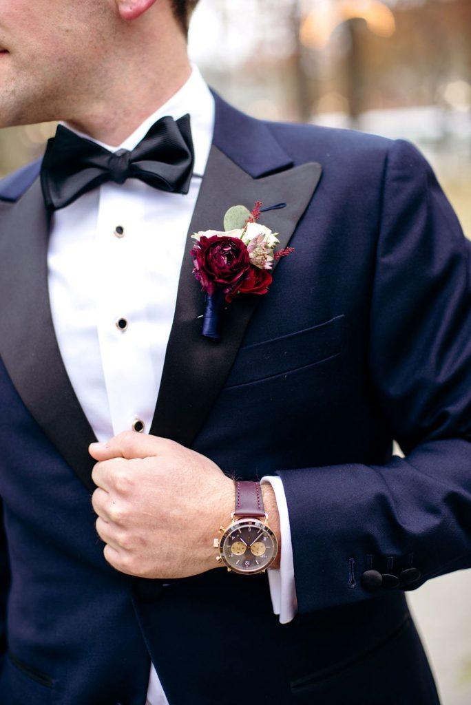 midnight blue wedding tuxedo - Leah E. Moss Designs