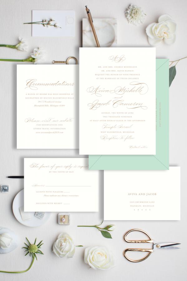 traditional calligraphy invitation monogram - Leah E. Moss Designs