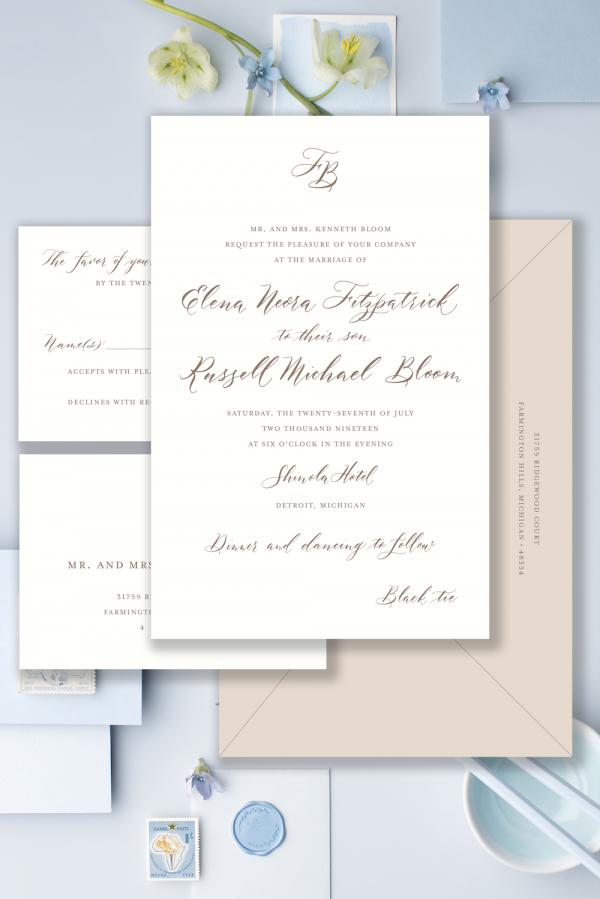 modern calligraphy invitation monogram - Leah E. Moss Designs