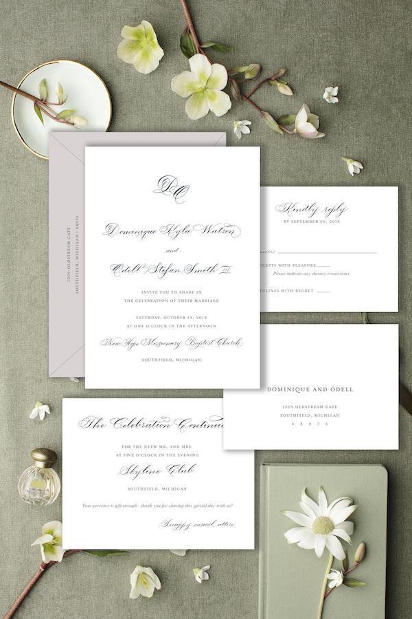 classic calligraphy invitation monogram - Leah E. Moss Designs